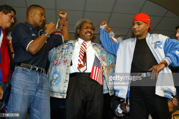 Felix Tito Trinidad and Ricardo El Matador Mayorga with promoter Don King at the final press conference for their fight The two will meet on Saturday...
