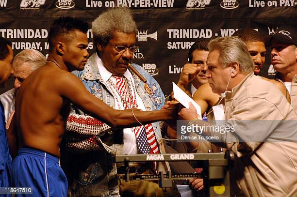 Felix Tito Trinidad Don King and Gary Shaw during Felix Tito Trinidad vs Winky Wright Weigh In for the WBC Middleweight Championship at MGM Grand...