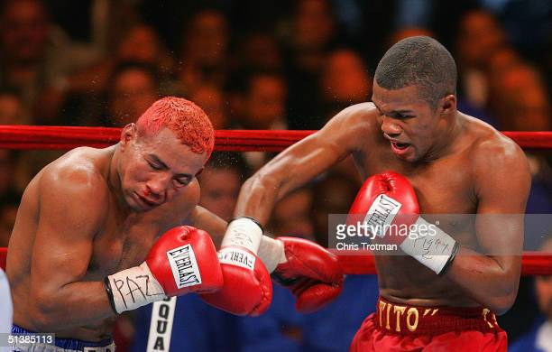Felix 'Tito' Trinidad Jr and Ricardo Mayorga in action during their bout for the WBA North American and North American Boxing Council middleweight...