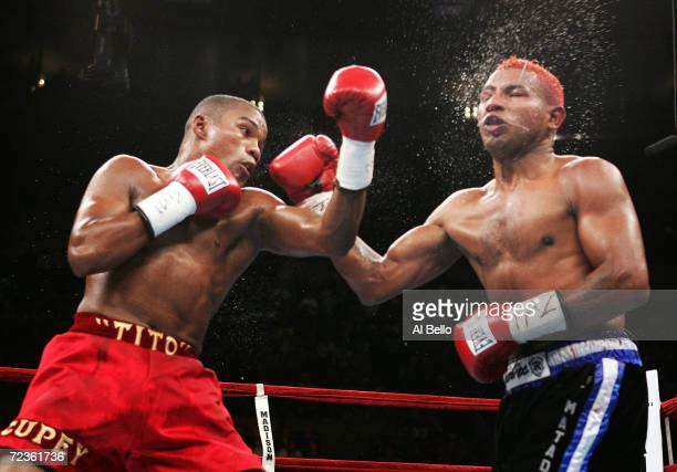 Felix Tito Trinidad Jr fights Ricardo Mayorga for the WBA North American and North American Boxing Council middleweight titles at Madison Square...