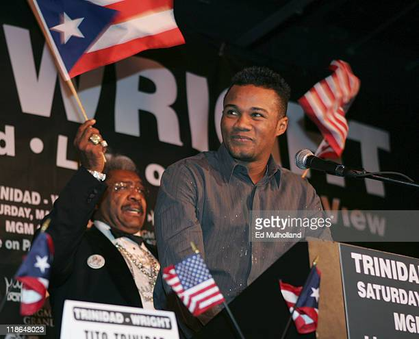 Felix Tito Trinidad speaks during a press conference at the Copacabana in NYC announcing his upcoming middleweight fight with Junior Middleweight...