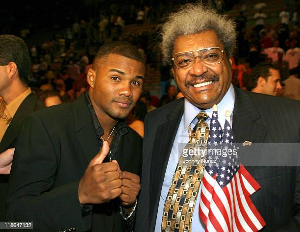 Felix Trinidad and Don King during The War at 154 Mosley vs Wright Fight Backstage And Ringside March 13 2004 at Madalay Bay Resort in Las Vegas...