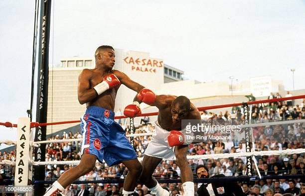 Felix Trinidad lands a left punch to Roger Turner during the fight at Caesars Palace in Las Vegas Nevada Felix Trinidad won the IBF welterweight...