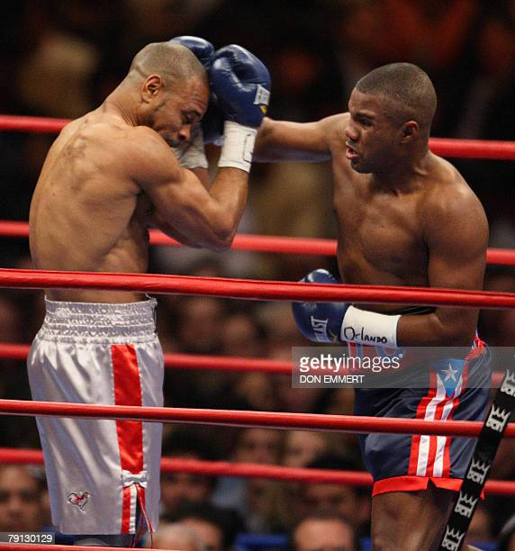 Felix Trinidad of Puerto Rico fights Roy Jones Jr. Of the US 19 January, 2008 during their light heavyweight fight at Madison Square Garden in New...