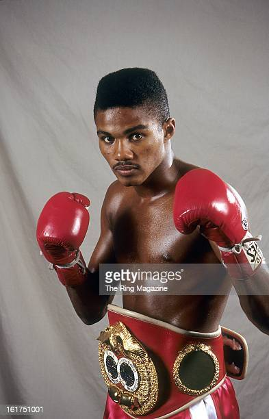 Felix Trinidad poses with his belt during a portrait session in New York