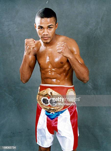 Felix Trinidad poses with his belt on February 151999 in New York New York