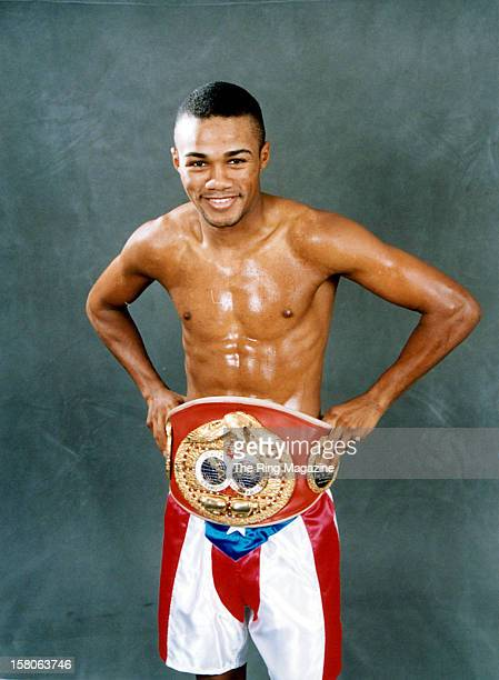 Felix Trinidad poses with his belt on February 151999 in New YorkNew York
