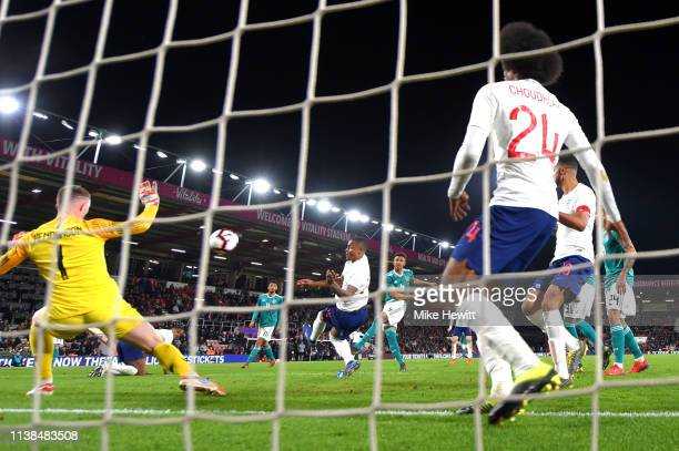 Felix Udoukhai of Germany scores his sides second goal during the International Friendly match between England u21's and Germany u21's at Vitality...