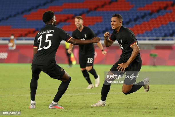 Felix Uduokhai of Team Germany celebrates after scoring their side's third goal during the Men's First Round Group D match between Saudi Arabia and...