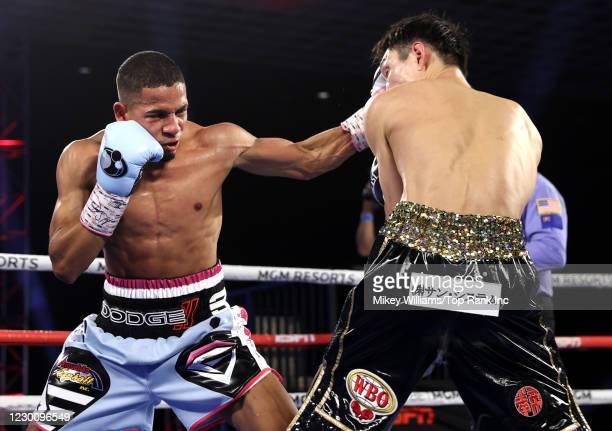 Felix Verdejo and Masayoshi Nakatani exchange punches during their fight at the MGM Grand Conference Center on December 12, 2020 in Las Vegas, Nevada.
