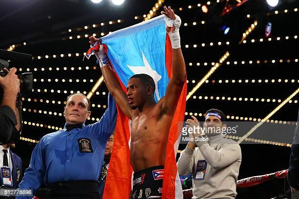 Felix Verdejo celebrates after defeating William Silva to retain the WBO Latino Champioship at Madison Square Garden on February 27, 2016 in New York...
