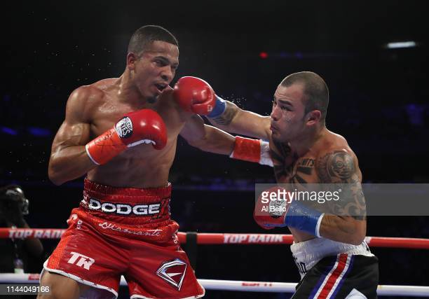 Felix Verdejo exchanges punches with Bryan Vasquez during their lightweight fight at Madison Square Garden on April 20, 2019 in New York City.