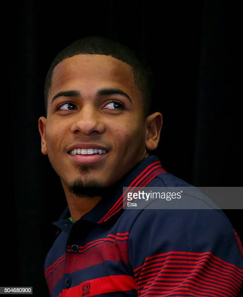 Felix Verdejo looks on during a conference to announce his fight at Madison Square Garden on January 12, 2016 in New York City.The bout is scheduled...