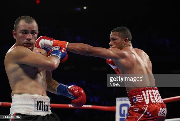 Felix Verdejo punches Bryan Vasquez during their lightweight fight at Madison Square Garden on April 20, 2019 in New York City.
