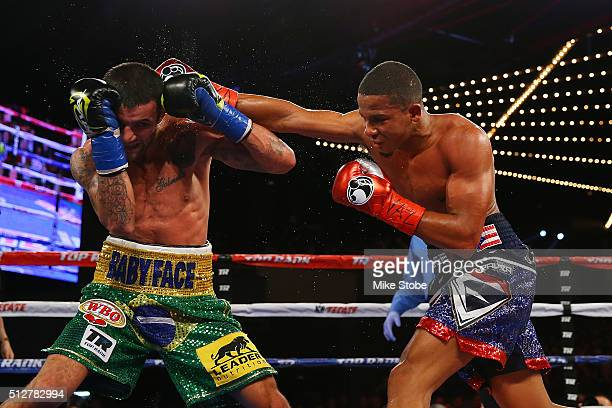 Felix Verdejo punches William Silva during the WBO Latino Champioship bout at Madison Square Garden on February 27, 2016 in New York City.