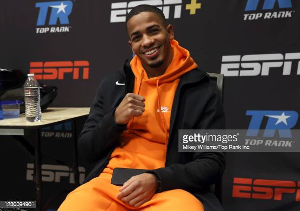 Felix Verdejo reacts in the locker before his fight against Masayoshi Nakatani at the MGM Grand Conference Center on December 12, 2020 in Las Vegas,...