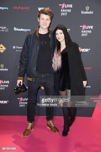 Felix von der Laden and his girlfriend Kati attend the 1Live Krone radio award at Jahrhunderthalle on December 7, 2017 in Bochum, Germany.