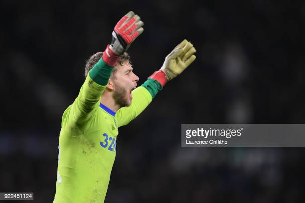 Felix Weidwald of Leeds United gestures during the Sky Bet Championship match between Derby County and Leeds United at iPro Stadium on February 21...