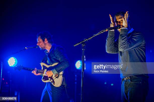 Felix White and Orlando Weeks of The Maccabees perform at O2 Academy Brixton on January 23 2016 in London England