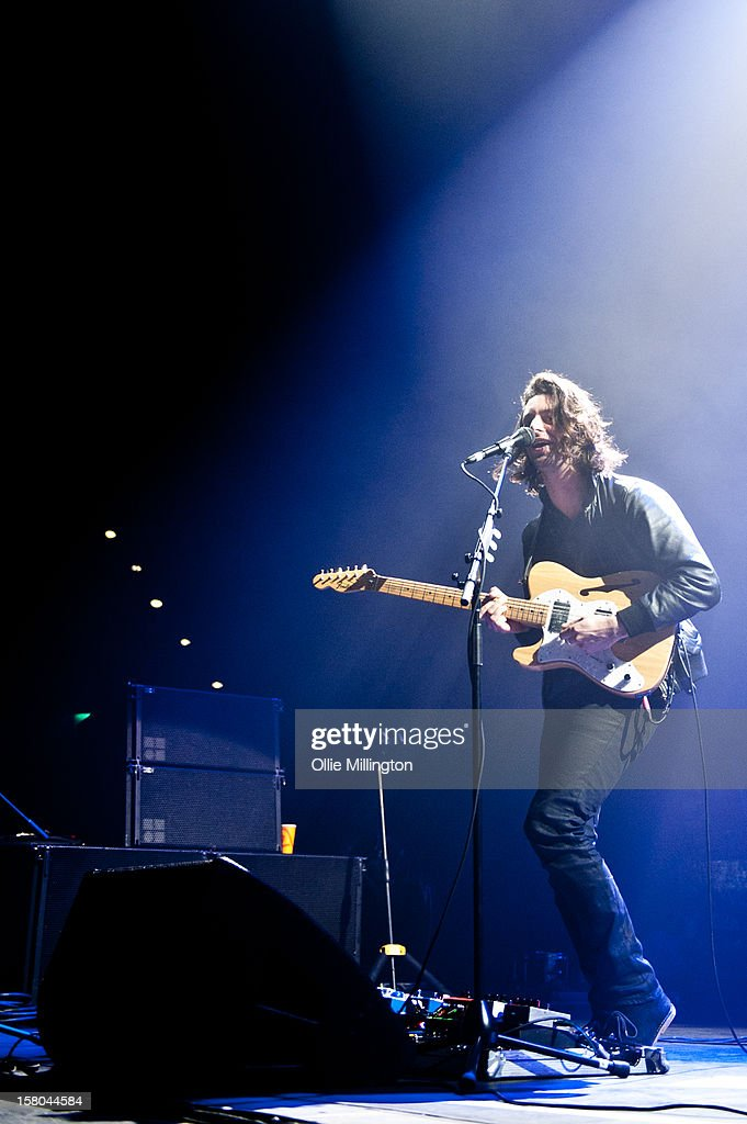 Felix White of The Maccabees performs onstage supporting The Black Keys on their 2012 winter European Arena tour at NIA Arena on December 9, 2012 in Birmingham, England.