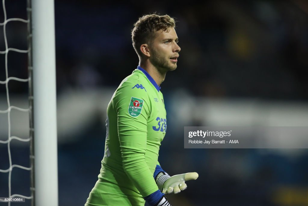 Felix Wiedwald of Leeds United during the Carabao Cup First Round match between Leeds United and Port Vale at Elland Road on August 9, 2017 in Leeds, England.
