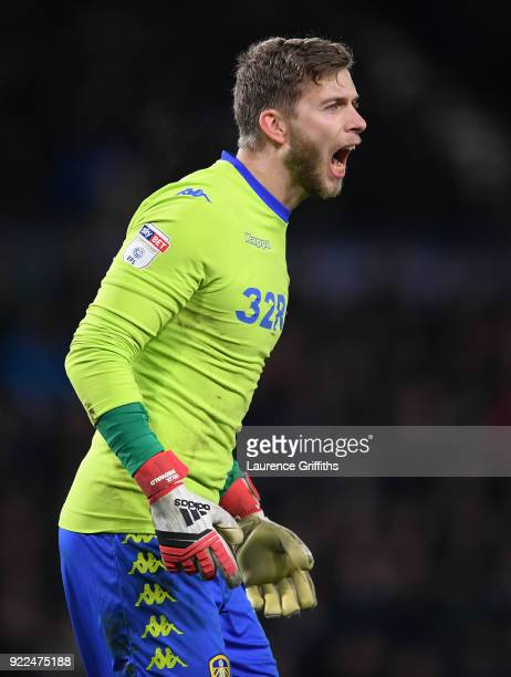 Felix Wiedwald of Leeds United looks on during the Sky Bet Championship match between Derby County and Leeds United at iPro Stadium on February 21...