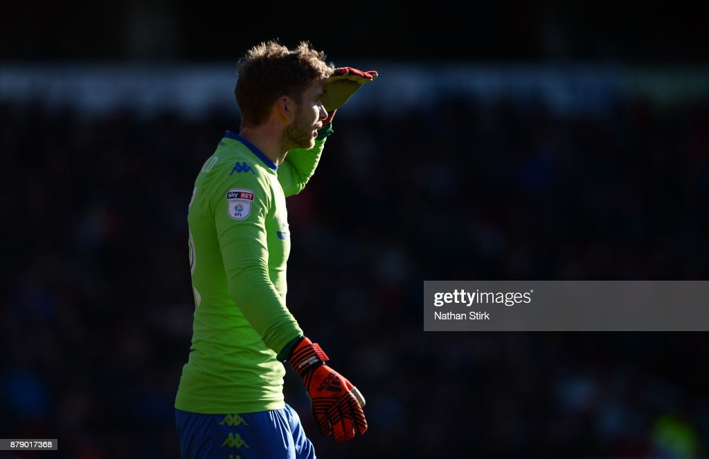 Felix Wiedwaldof Leeds United looks on during the Sky Bet Championship match between Barnsley and Leeds United at Oakwell Stadium on November 25, 2017 in Barnsley, England.
