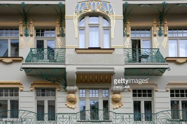 felix zawojski house, facade, art nouveau building, karlovy vary, bohemia, czech republic - embellishment stock pictures, royalty-free photos & images