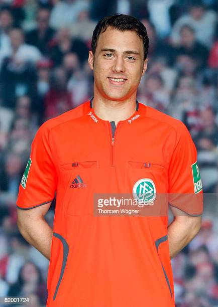 Felix Zwayer referee of the German Football Association poses during the DFB Referee Photocall at the Sportschule Kaiserau in Kamen near Dortmund on...
