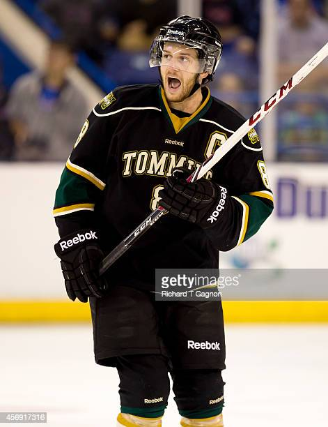 Felix-Antoine Poulin of the St. Thomas University Tommies skates against the Massachusetts Lowell River Hawks during NCAA exhibition hockey at the...