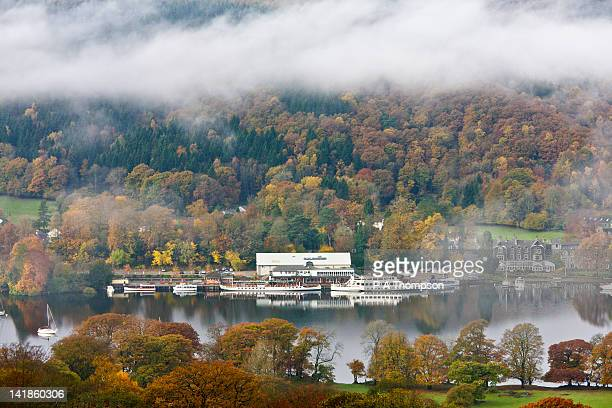 fell foot park and lakeside in the autumn, lake windermere, cumbria, england - lake windermere stock pictures, royalty-free photos & images