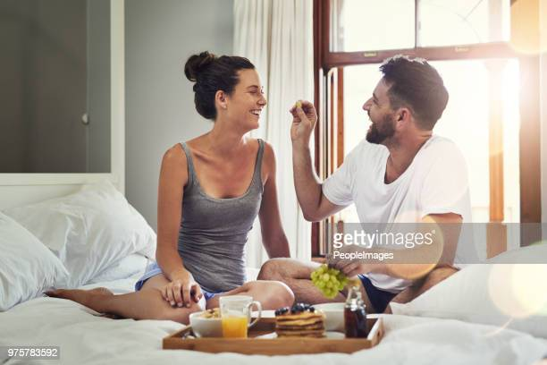 i fell in love with his sweet romantic side - breakfast in bed stock pictures, royalty-free photos & images