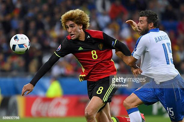 Fellaini Marouane midfielder of Belgium Barzagli Andrea defender of Italy during the UEFA EURO 2016 match group E between Belgium and Italy at the...