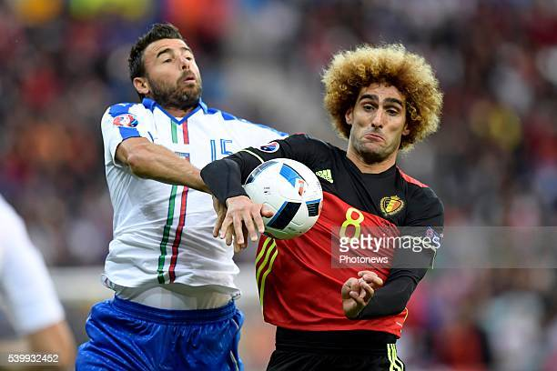 Fellaini Marouane midfielder of Belgium is fighting for the ball with Barzagli Andrea defender of Italy during the UEFA EURO 2016 match group E...