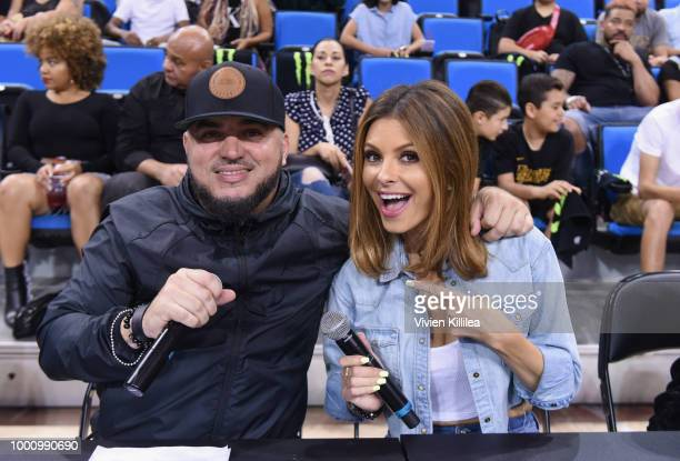 Felli Fel and Maria Menounos attend 50K Charity Challenge Celebrity Basketball Game at UCLA's Pauley Pavilion on July 17 2018 in Westwood California