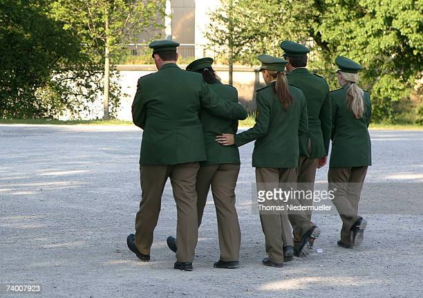 Fellow officers leave the scene of a police officer shooting on April 27 2007 in Heilbronn Germany Pedestrians found a murdered female police officer...