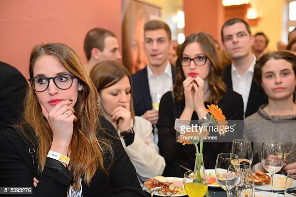 Fellow party members of Julia Kloeckner, lead candidate for the German Christian Democrats in Rhineland-Palatinate state elections react after the...
