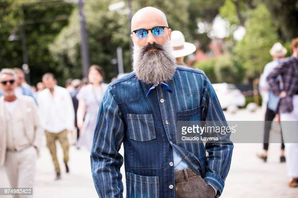 Felpastyle wearing a striped denim shirt is seen during the 94th Pitti Immagine Uomo at Fortezza Da Basso on June 14 2018 in Florence Italy