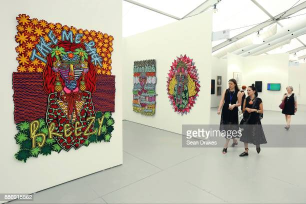 Felt collages by Jody Paulsen of South Africa presented smac Gallery at Untitled Art Fair during Art Basel Miami Beach on December 05 2017 in Miami...