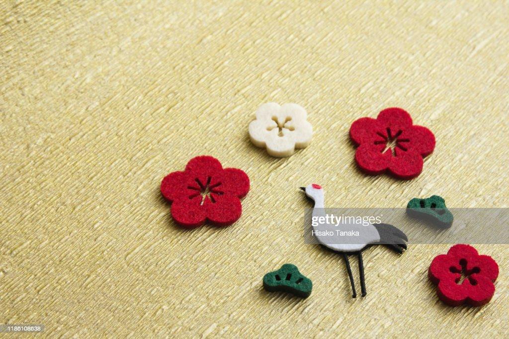 felt crane and plum blossom ornament : ストックフォト