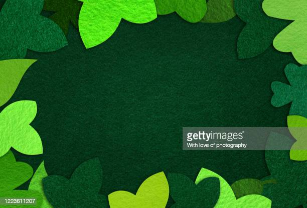 felt nature green leaves handmade concept background - felt textile stock pictures, royalty-free photos & images