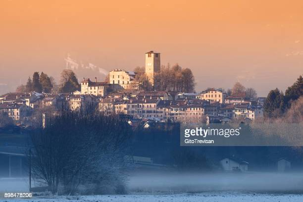 feltre (bl) - winter sunset - belluno stock pictures, royalty-free photos & images