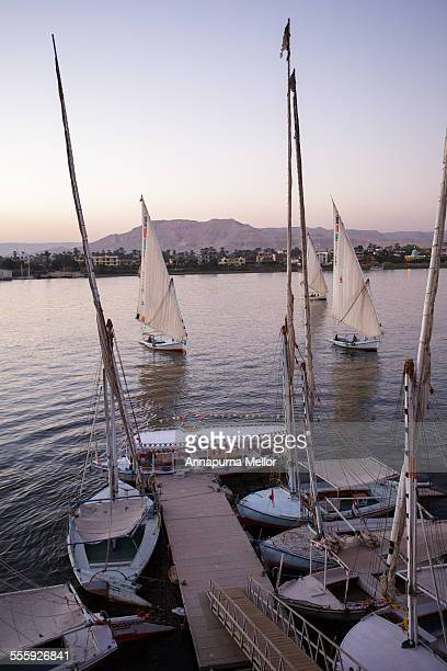 Felucca boats on the Nile in Luxor, Egypt