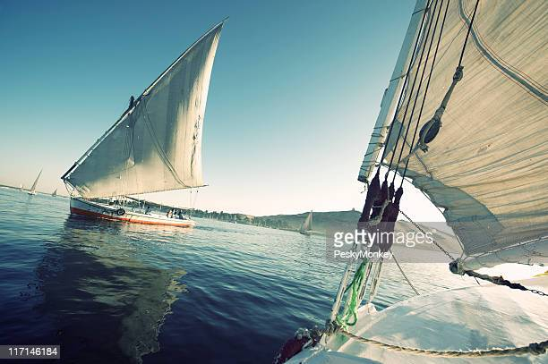 Felucca Boats Sailing on Nile River Sunset Cruise Egypt