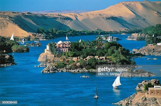 Felucca on the Nile river near Elephantine Island Aswan Egypt