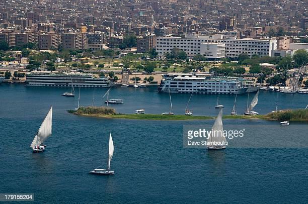Feluccas sailing on the Nile, Aswan, Egypt