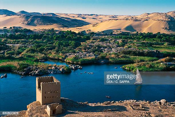 Feluccas traditional wooden sailing boats on the Nile around Aswan Egypt
