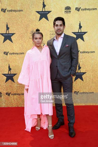 Fely Irvine and Tai Hara attend the Australian premiere of Hamilton at Lyric Theatre, Star City on March 27, 2021 in Sydney, Australia.