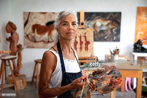 A femail artist in her studio