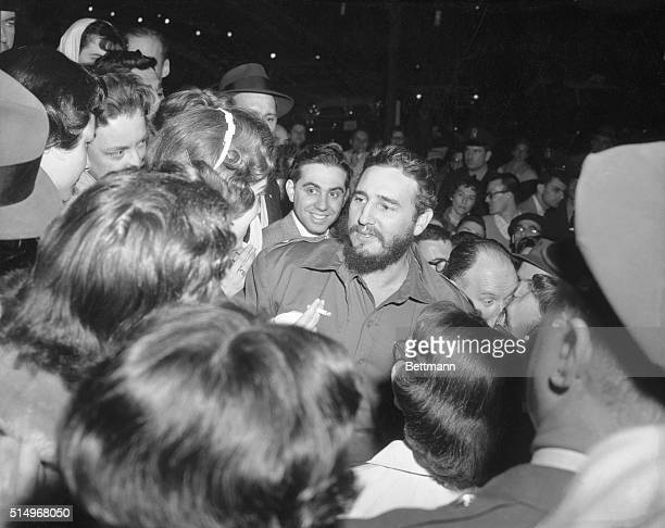 Female Admirers Washington Bugged by excited girls Cuban Prime Minister Fidel Castro Greets Admirers who waited for him across the street from the...